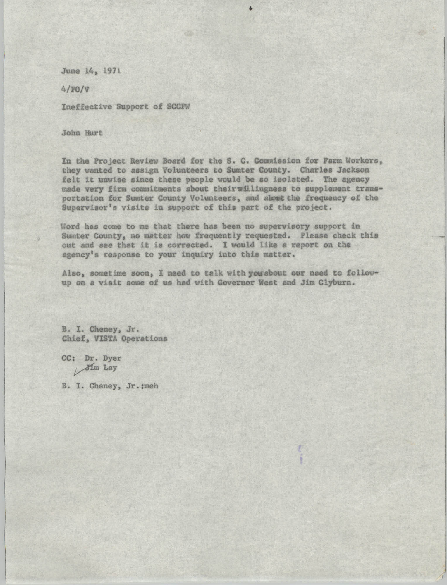 Letter from B. I. Cheney, Jr. to John Hurt, June 14, 1971