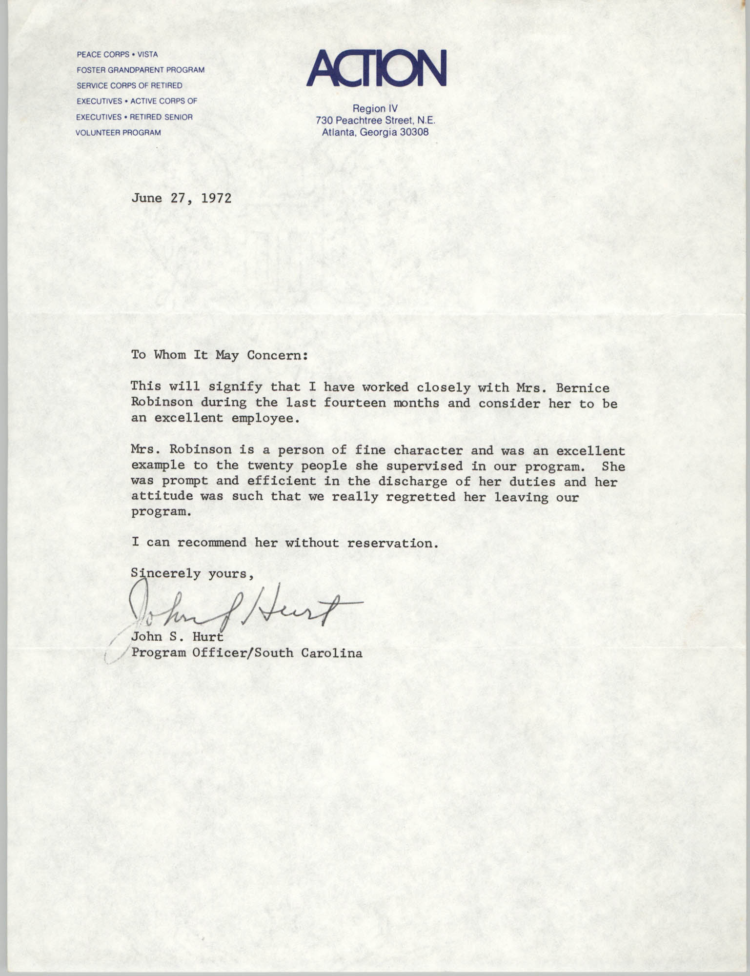 Letter from John S. Hurt to Action Region IV, June 27, 1971