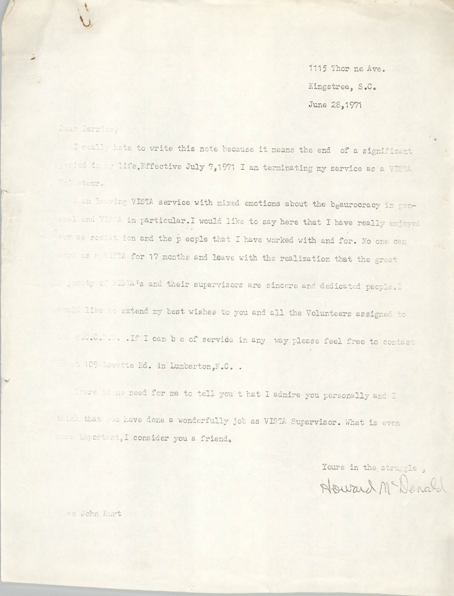 Letter from Howard McDonald to Bernice Robinson, June 28, 1971