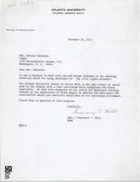 Letter from Genevieve T. Hill to Bernice Robinson, November 20, 1972