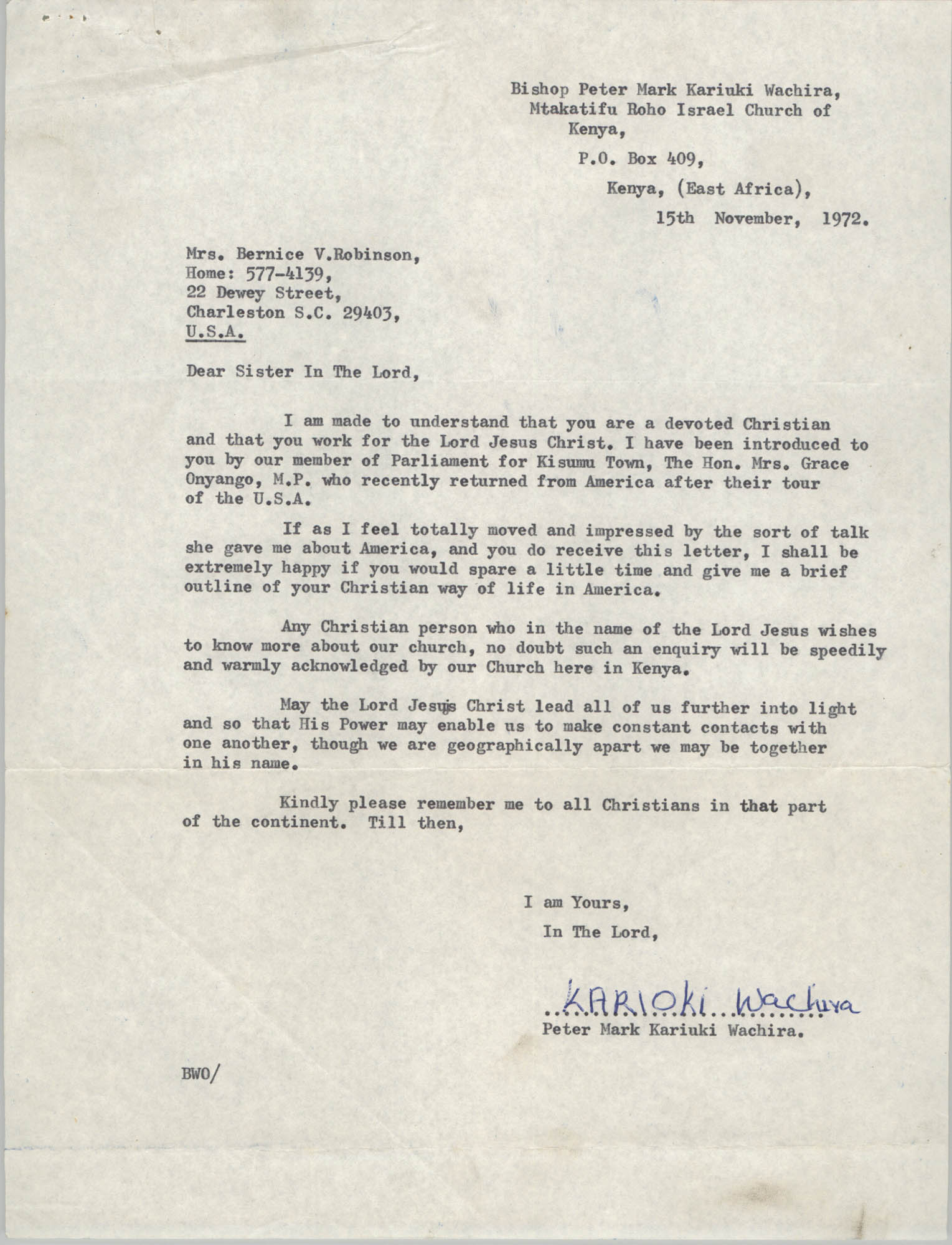 Letter from Peter Mark Kariuki Wachira to Bernice Robinson, November 15, 1972