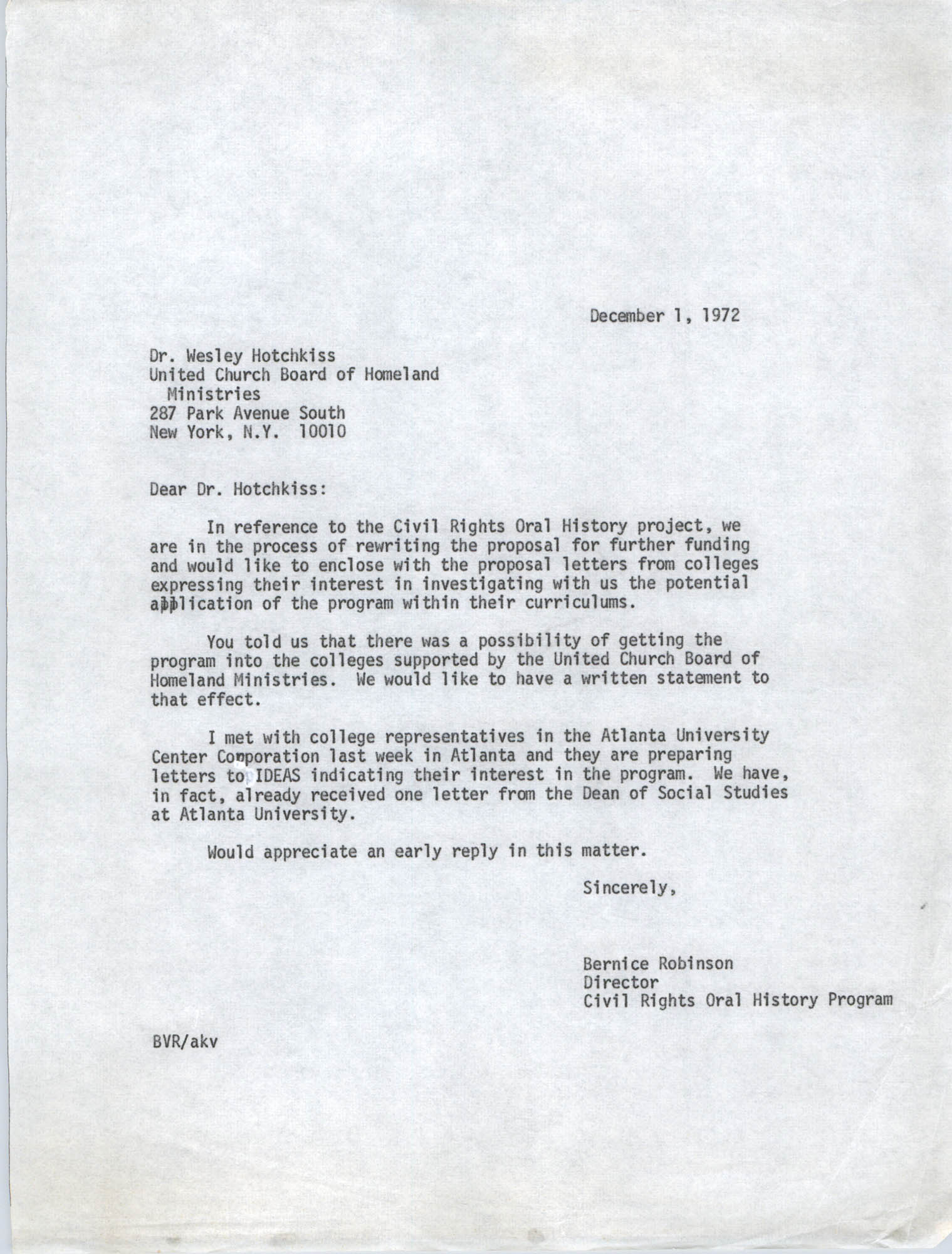 Letter from Bernice Robinson to Wesley Hotchkiss, December 1, 1972