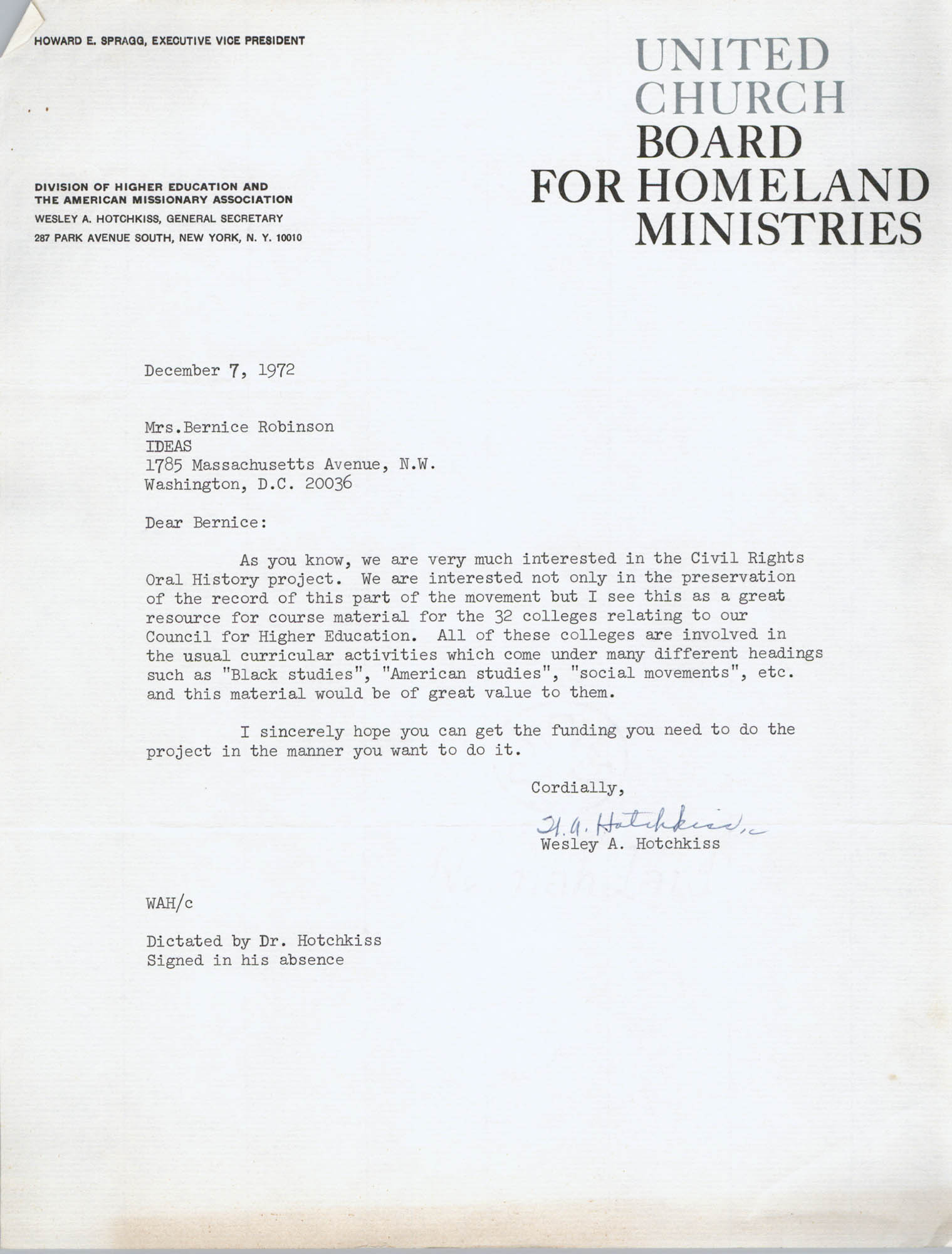 Letter from Wesley Hotchkiss to Bernice Robinson, December 7, 1972