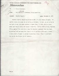 Memorandum from Bernice V. Robinson to VISTA Volunteers, December 9, 1971