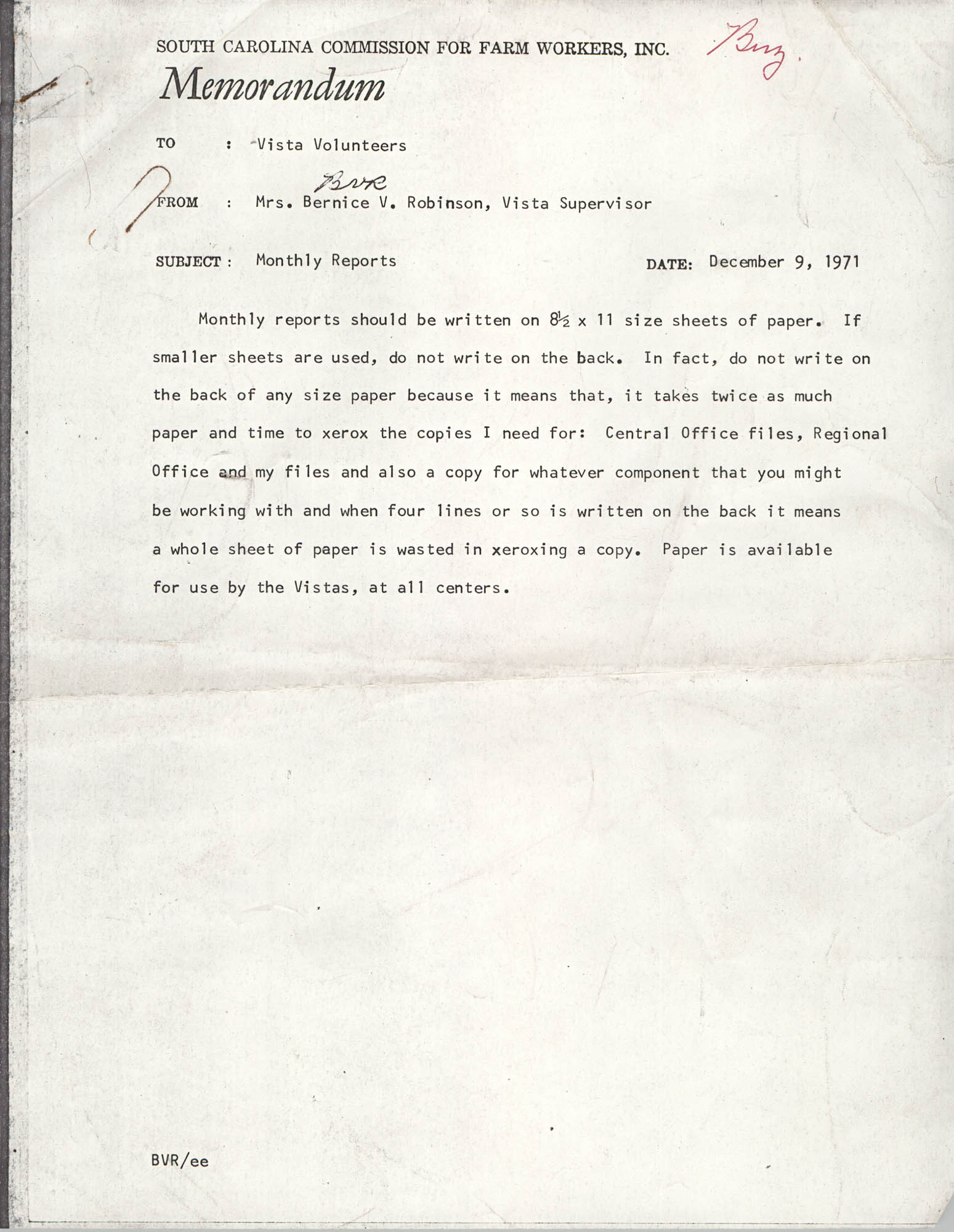 Memorandum from Bernice V. Robinson to VISTA Volunteers, December 9, 1971