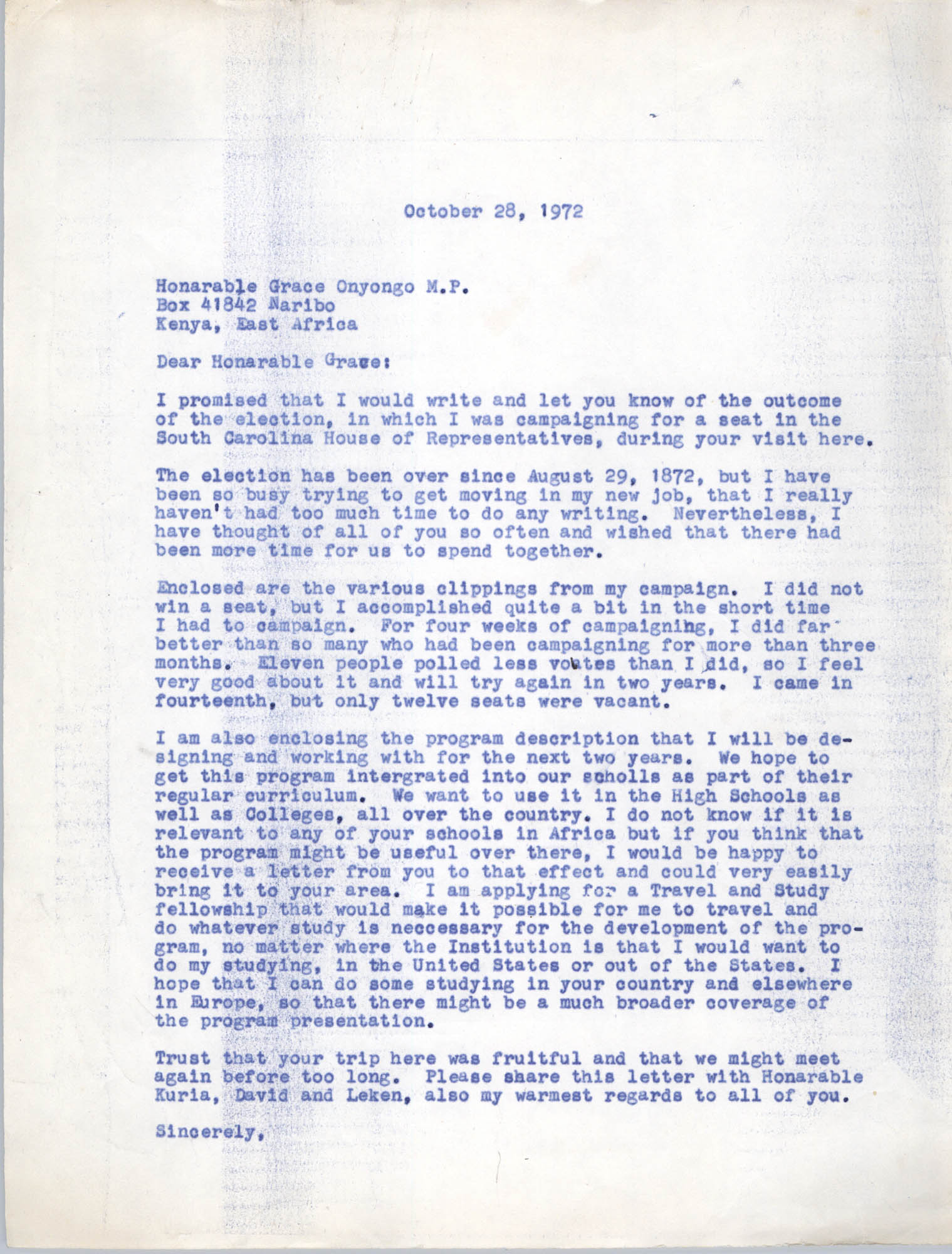 Letter from Bernice Robinson to Grace Onyongo, October 28, 1972