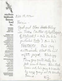 Letter from Theodore S. Stern to Bernice Robinson, November 20, 1972