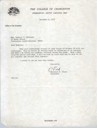 Letter from Theodore S. Stern to Bernice Robinson, November 6, 1972