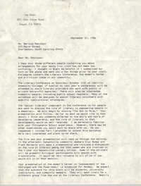 Letter from Lee Davis to Bernice Robinson, September 21, 1986