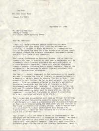 Letter from Lee Davis to Bernice Robinson, September 21, 1986