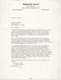 Letter from Myles Horton to Bernice Robinson, October 6, 1980
