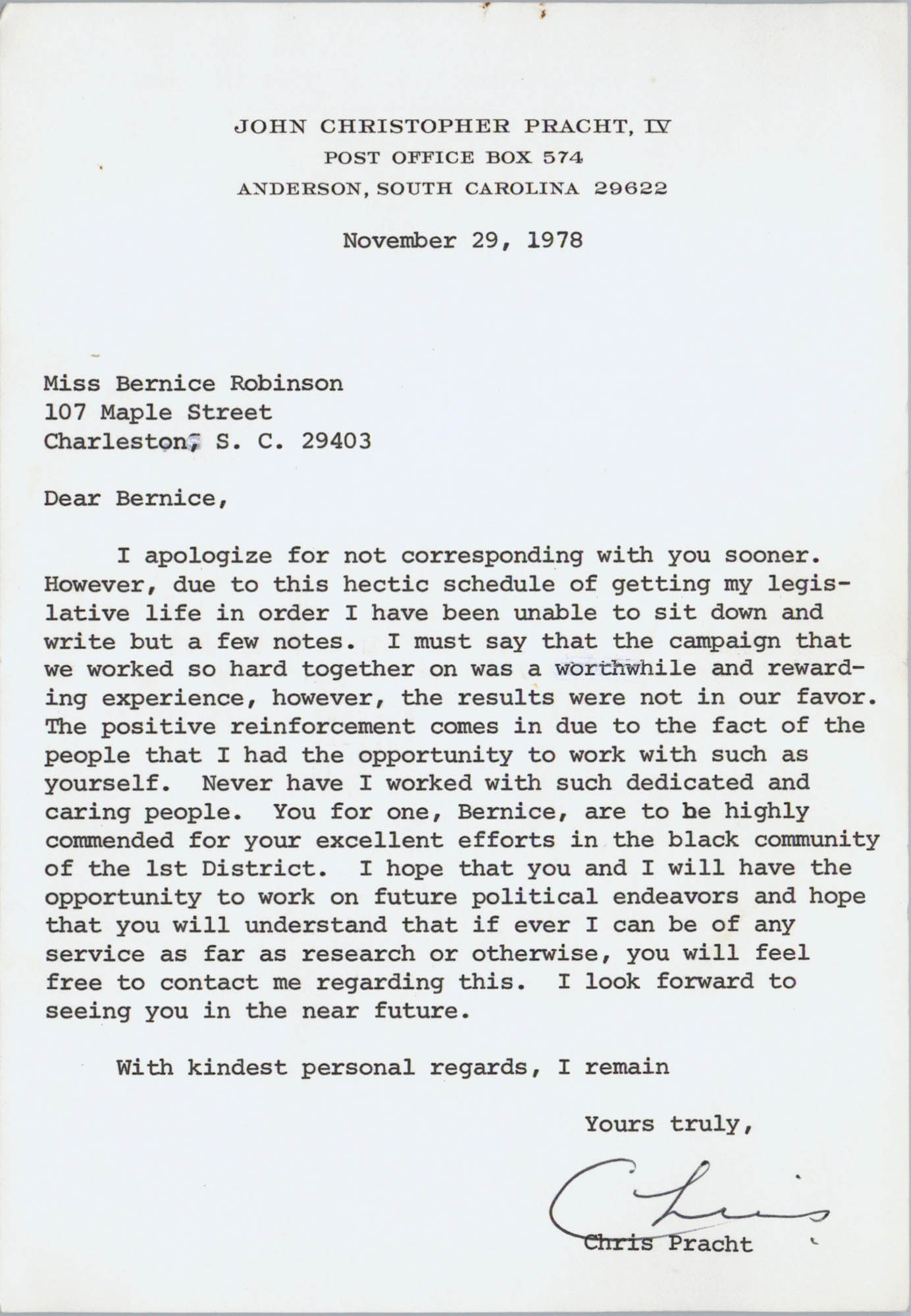 Letter from Chris Pracht to Bernice Robinson, November 29, 1978