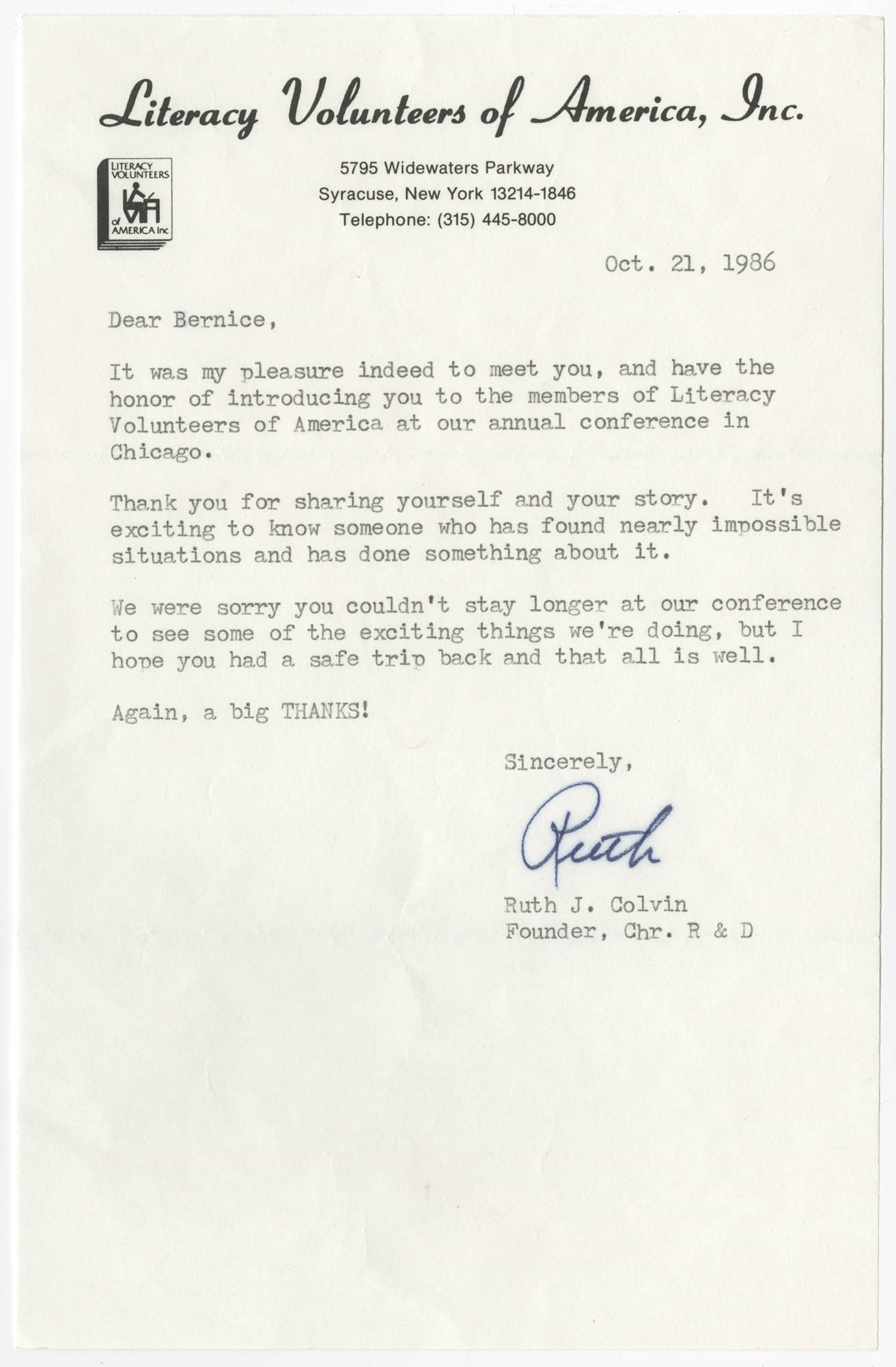 Letter from Ruth J. Colvin to Bernice Robinson, October 21, 1986