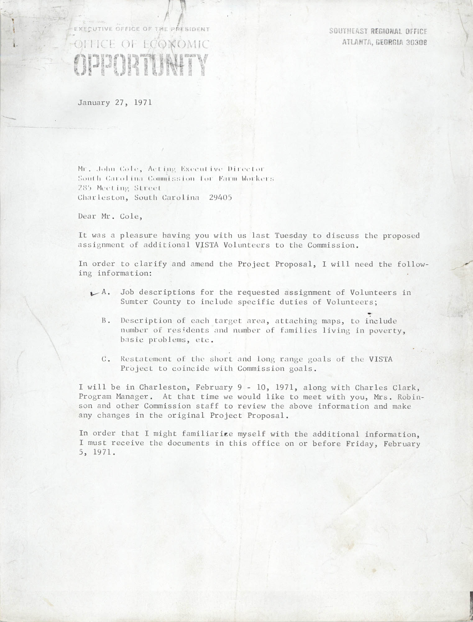 Letter from Charles R. Jackson and B.I. Cheney, Jr. to John Cole, January 27, 1971