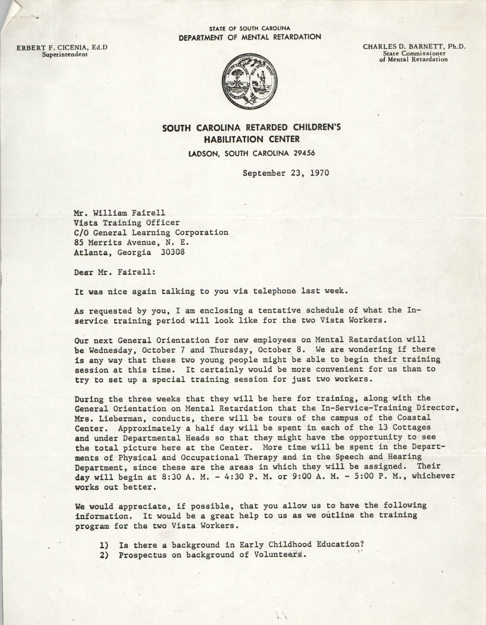 Letter from Johnette Green Edwards to William Fairell, September 23, 1970