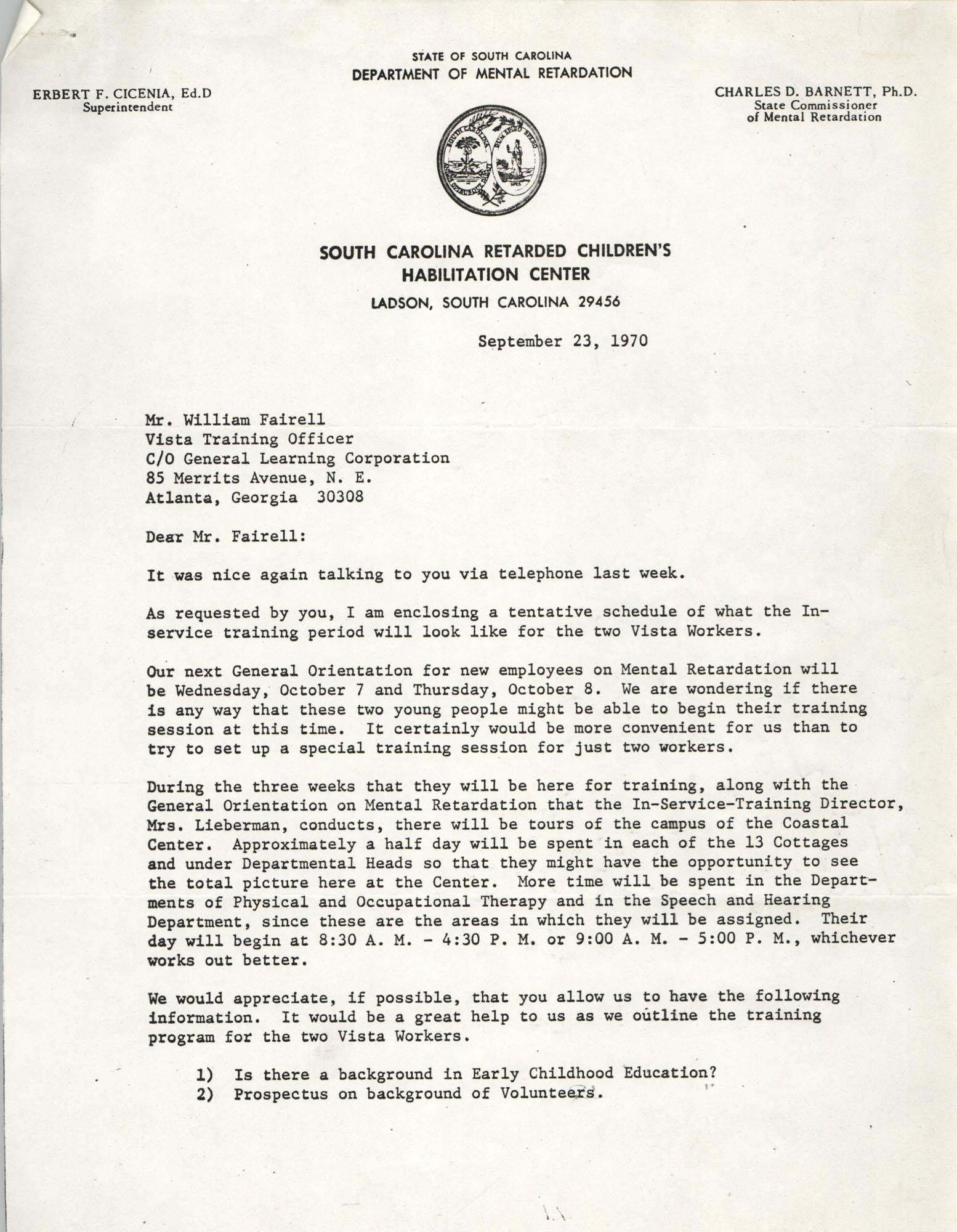 Letter from Johnette Green Edwards to William Fairell, September 23, 1970