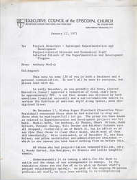 Letter from Anthony J. Morley to Executive Council of the Episcopal Church, January 12, 1971