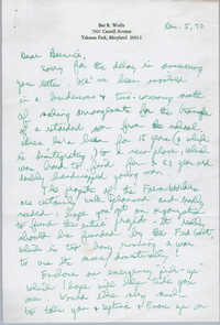 Letter from Bee R. Wolfe to Bernice Robinson, December 5, 1970