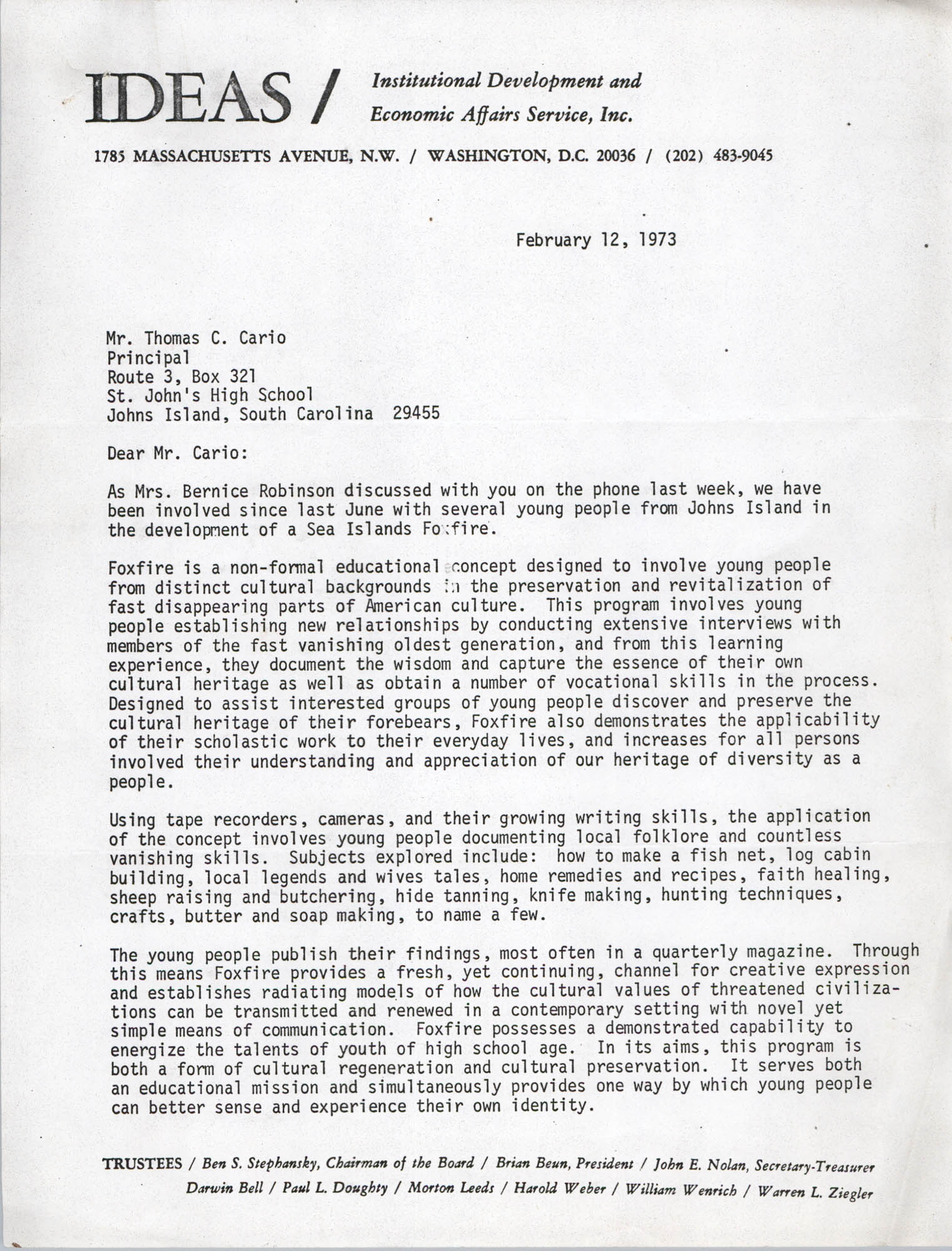 Letter from Ann Vick to Thomas C. Carlo, February 12, 1973