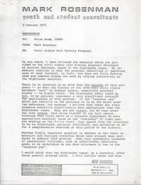Memorandum from Mark Rosenman to Brian Beun, January 2, 1973