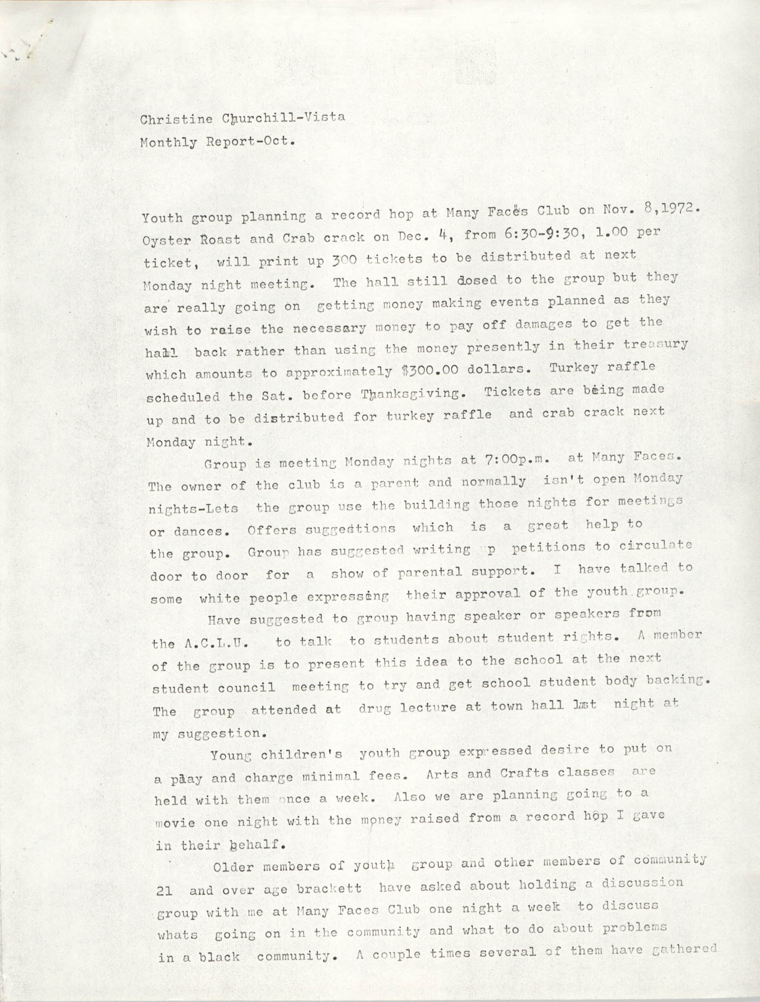 VISTA Monthly Report, October 1972