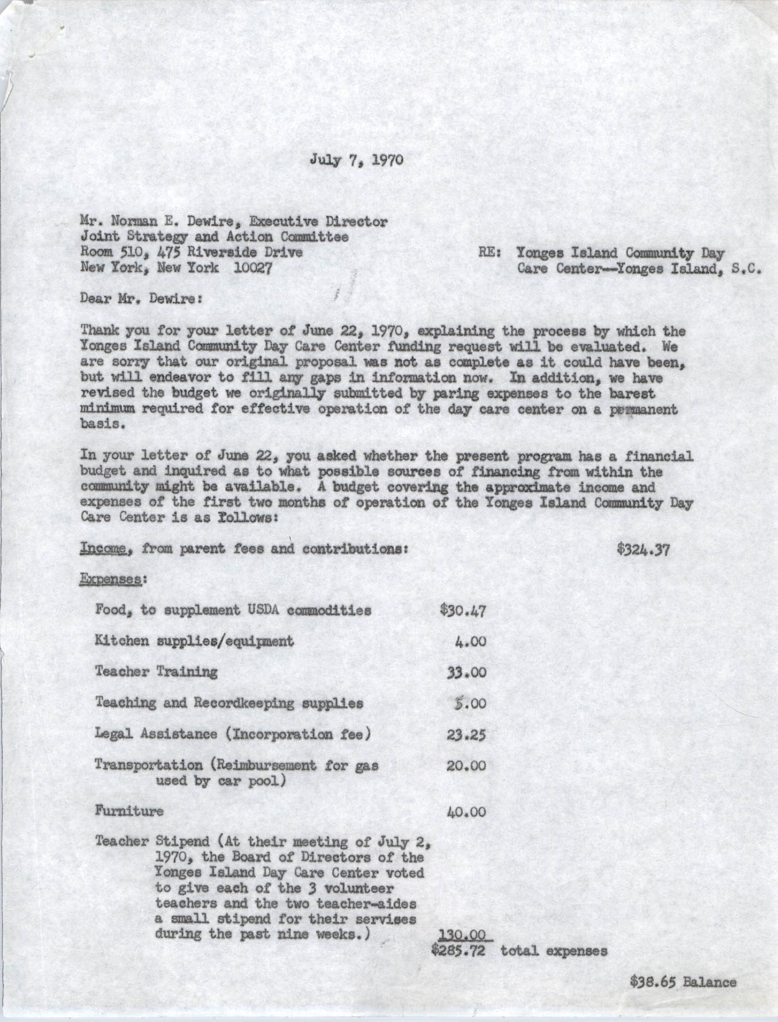Letter from Bernice V. Robinson to Norman E. Dewire, July 7, 1970