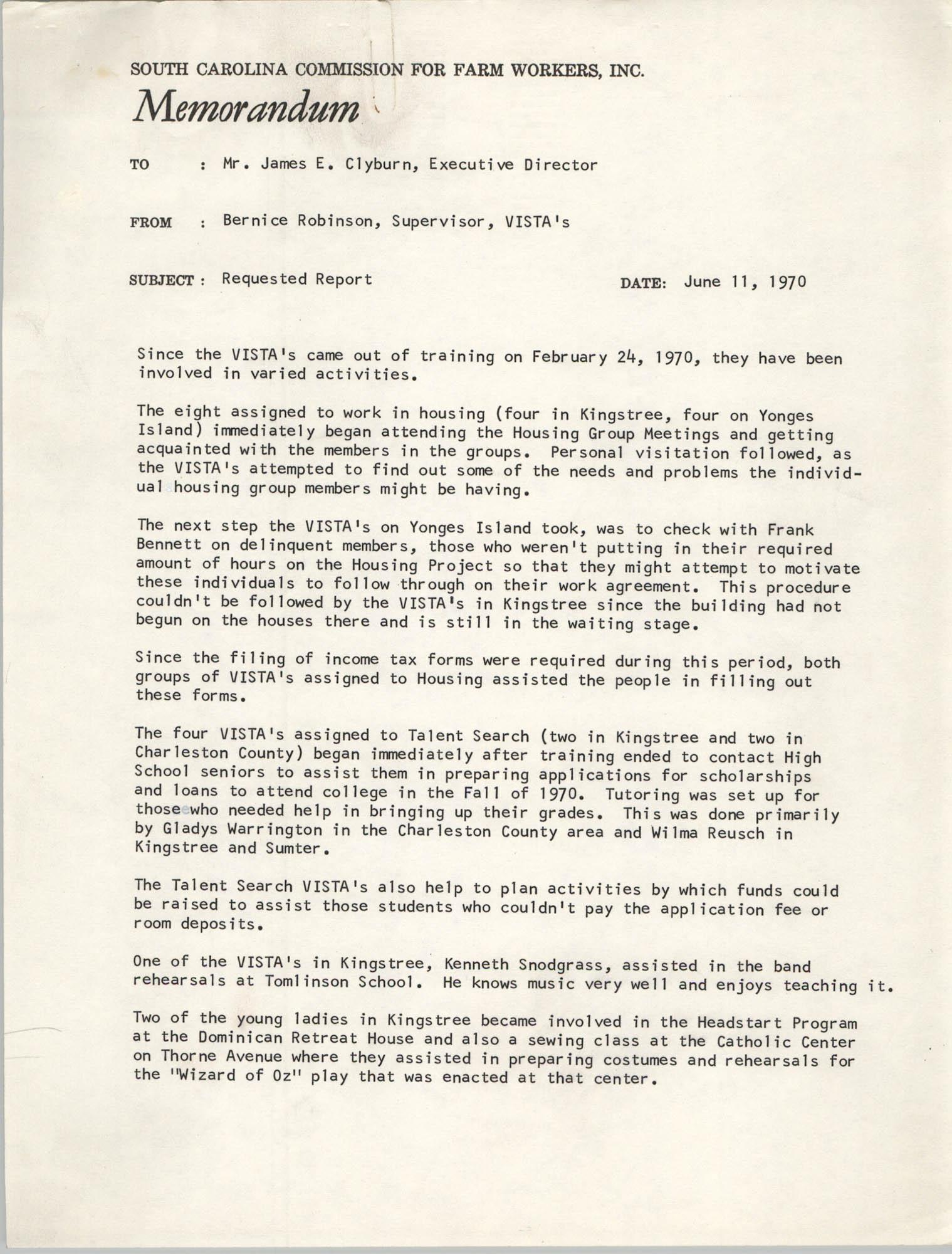 Memorandum from Bernice V. Robinson to James E. Clyburn, June 11, 1970