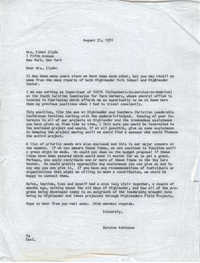 Letter from Karney Platt to Stephen Mackey, August 31, 1970