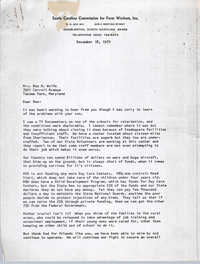 Letter from Bernice Robinson to Bee R. Wolfe, December 18, 1970