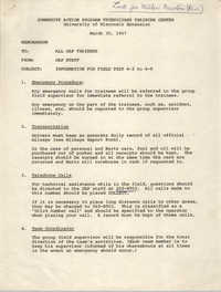 Memorandum from CAP Staff to All CAP Trainees, March 30, 1967