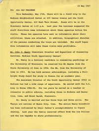 Memorandum from CAP Staff to All CAP Trainees, May 15, 1967