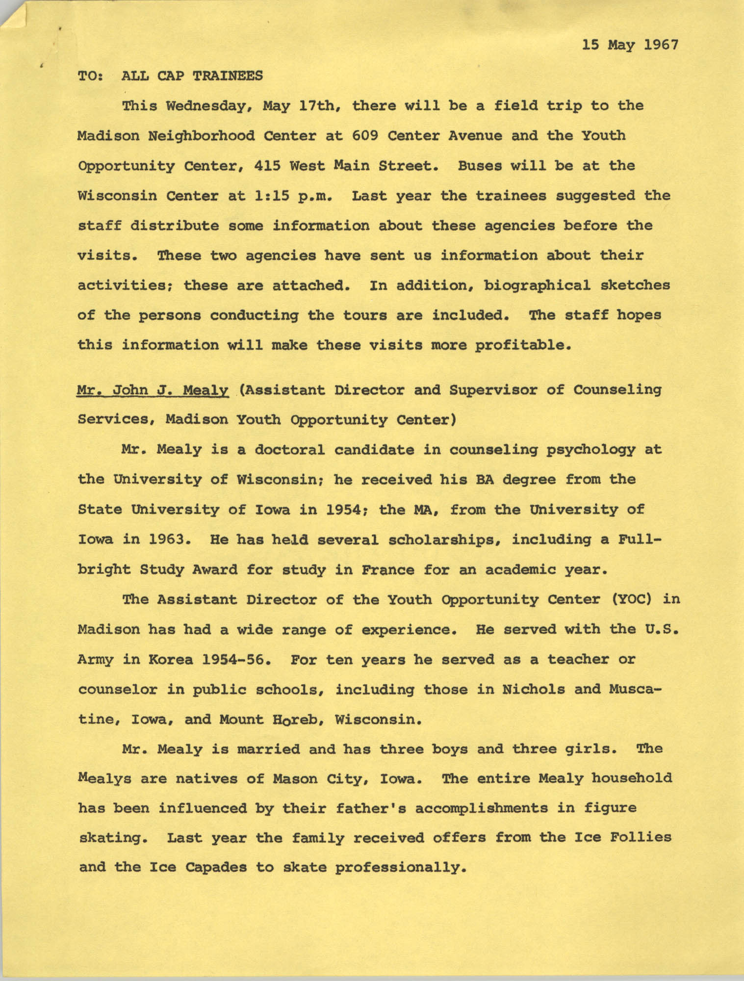 Memorandum from CAP Staff to All CAP Trainees, May 15, 1967