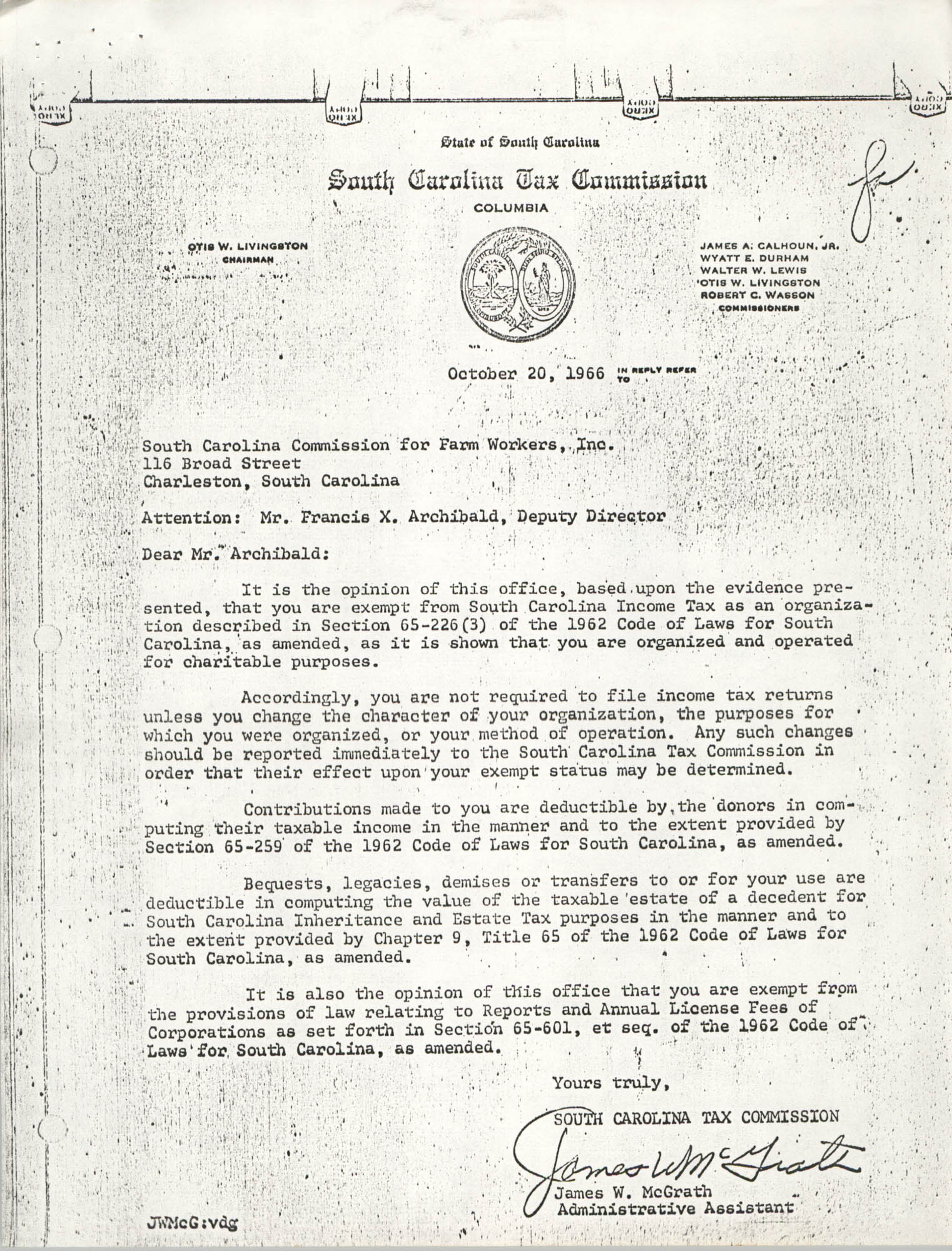 Letter from South Carolina Tax Commission to South Carolina Commission for Farm Workers, Inc.