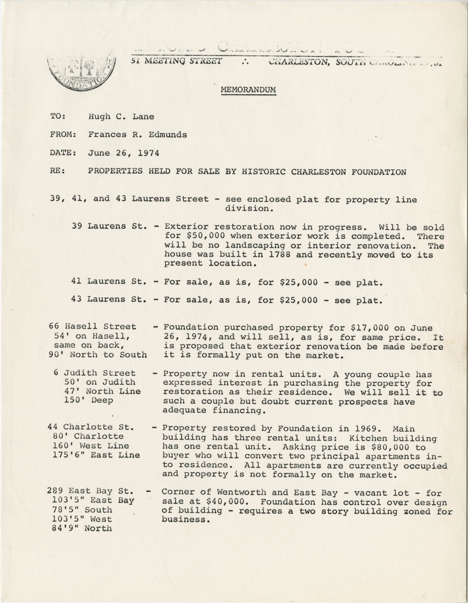 Memorandum from Frances R. Edmunds to Hugh C. Lane