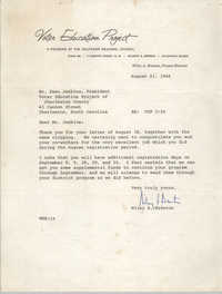 Letter from Wiley A. Branton to Esau Jenkins, August 21, 1964