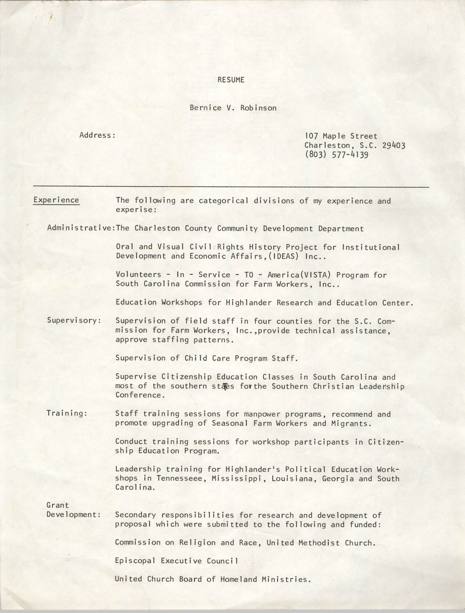 Bernice V. Robinson Four-Page Resume