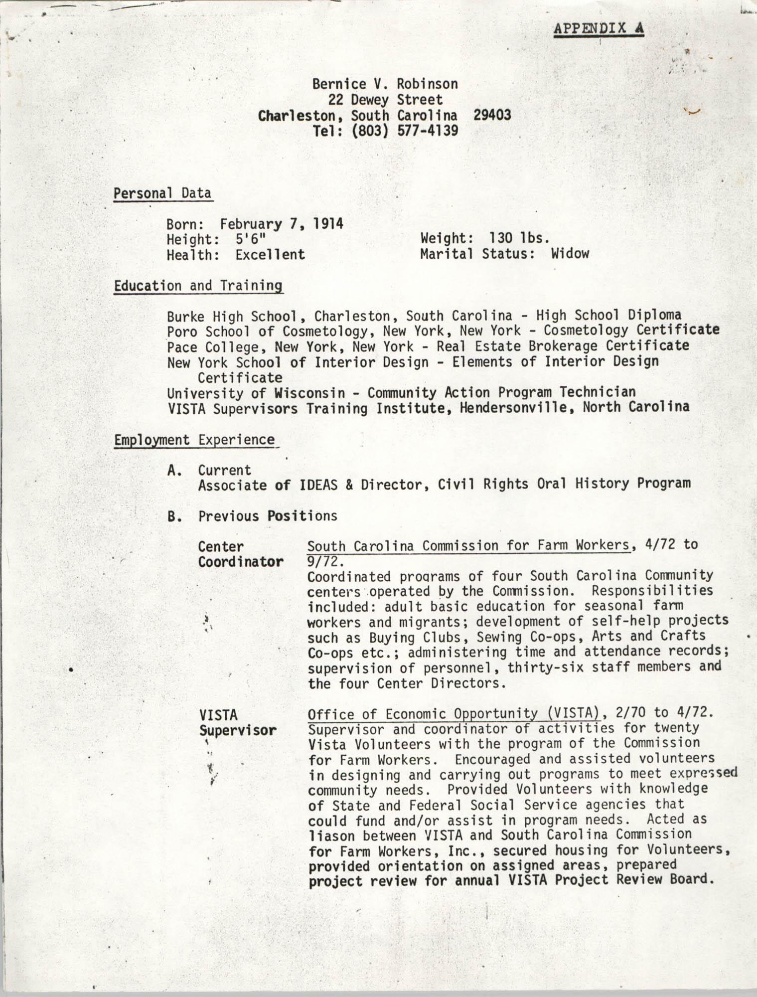 Bernice V. Robinson Resume