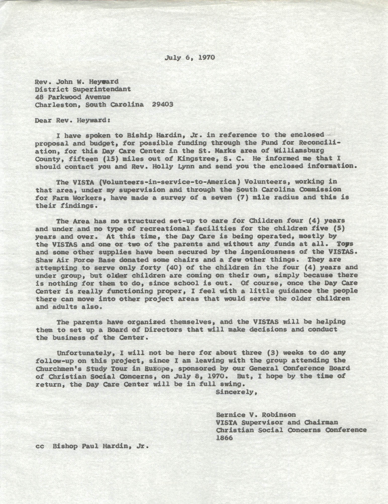 Letter from Bernice V. Robinson to John W. Heyward, July 6, 1970