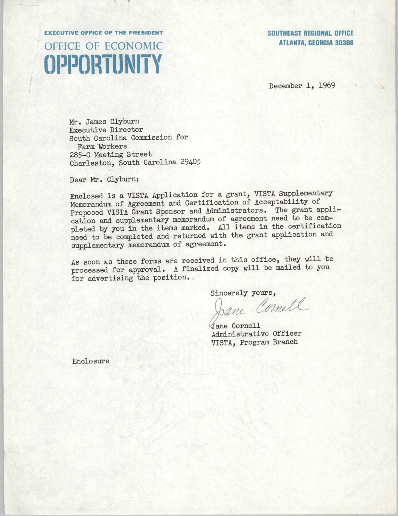 Letter from Jane Cornell to James Clyburn, December 1, 1969