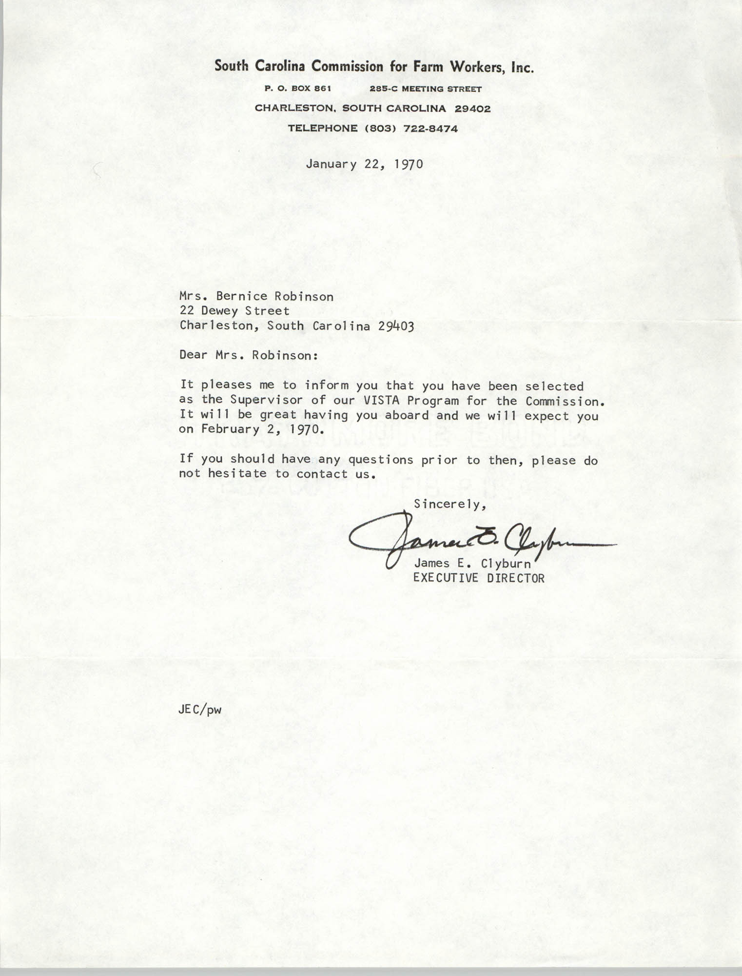 Letter from James E. Clyburn to Bernice Robinson, January 22, 1970
