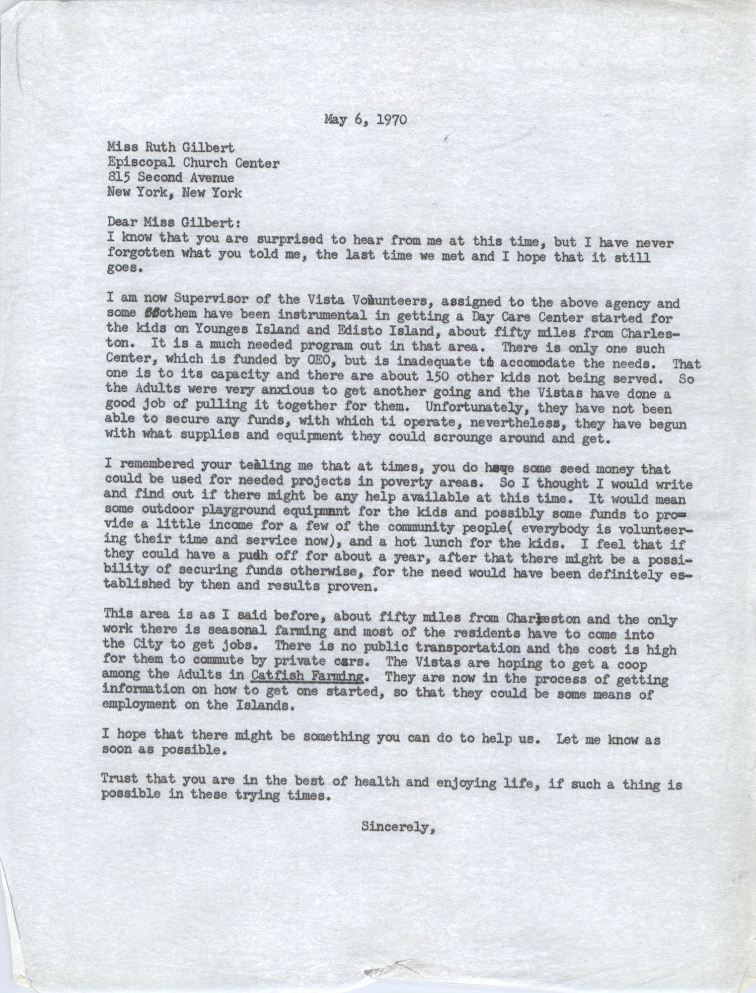 Letter from Bernice Robinson to Ruth Gilbert, May 6, 1970