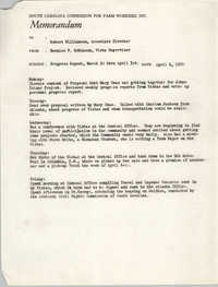 Memorandum from Bernice V. Robinson to Robert Williamson, April 6, 1970