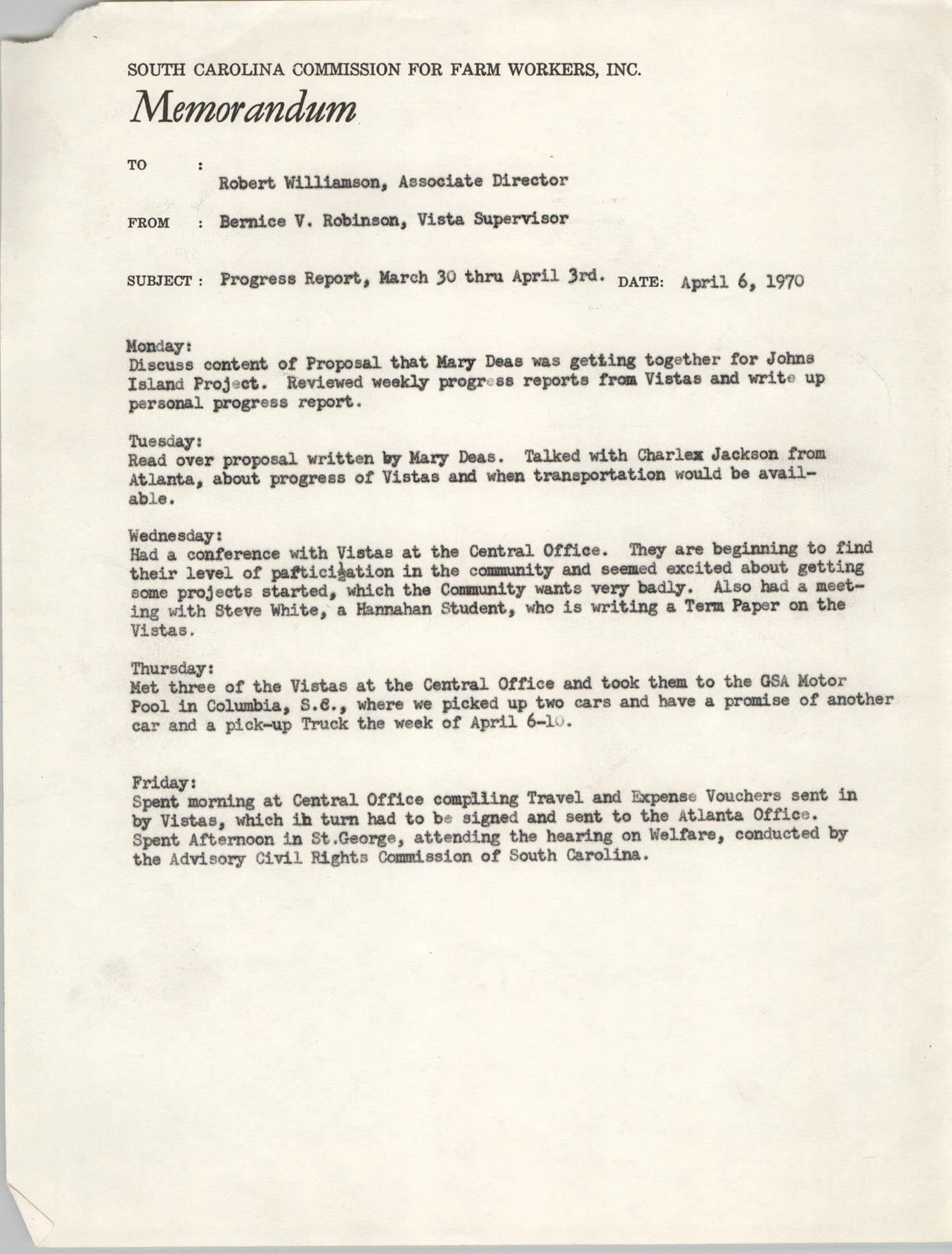 Memorandum from Bernice V. Robinson to Robert Williamson, April 6, 1970