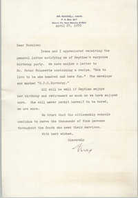 Letter from Maxwell Hahn to Bernice Robinson, April 27, 1970