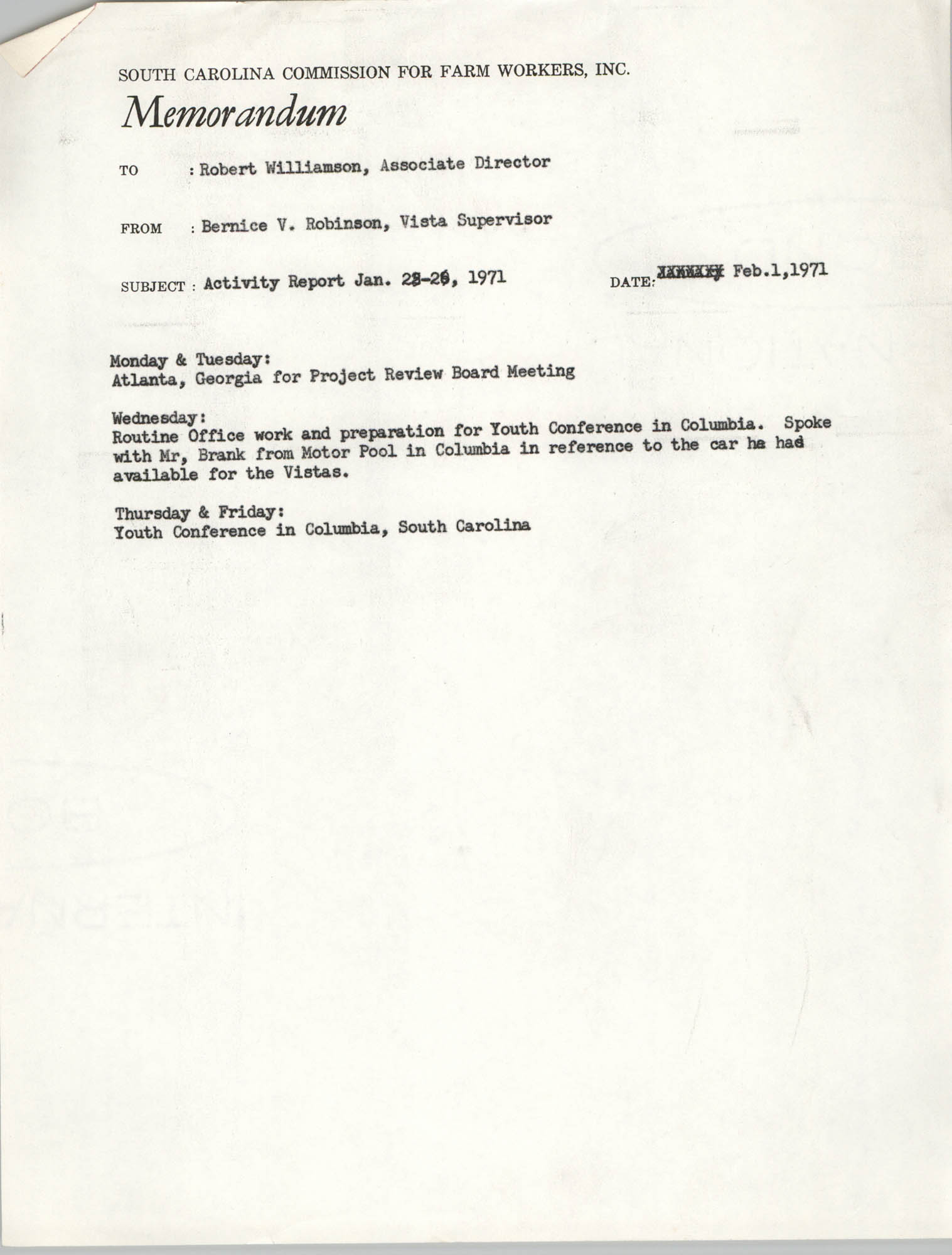 Memorandum from Bernice V. Robinson to Robert Williamson, February 1, 1971