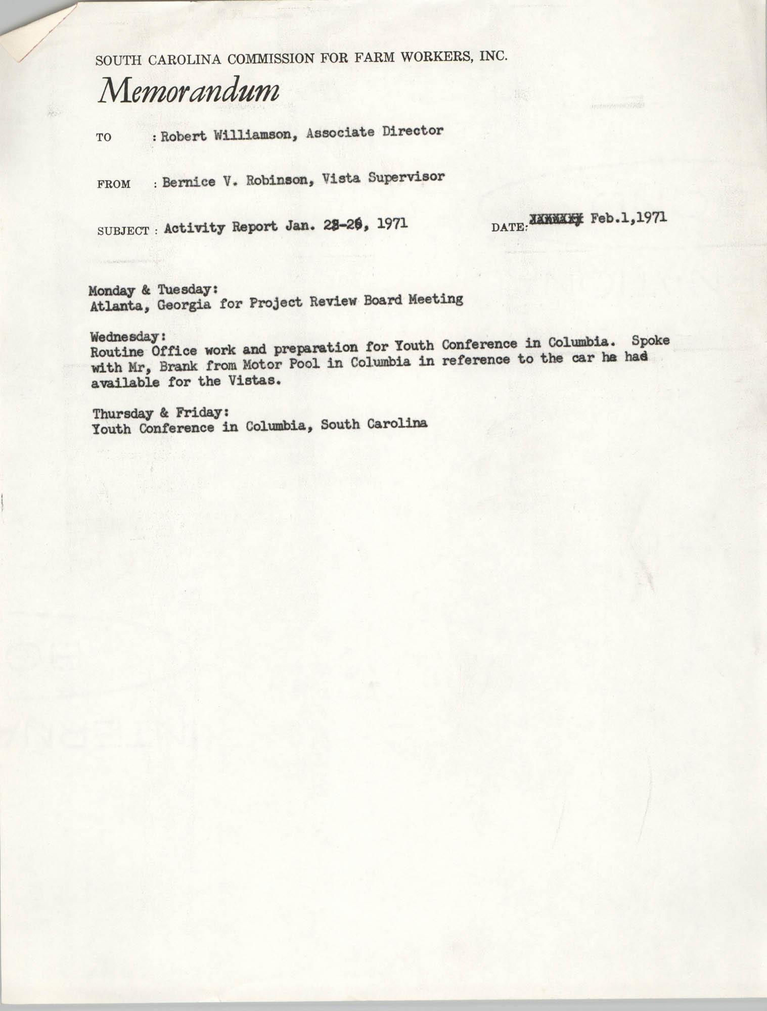 Memorandum from Bernice V. Robinson to Robert Williamson, February 1, 1971