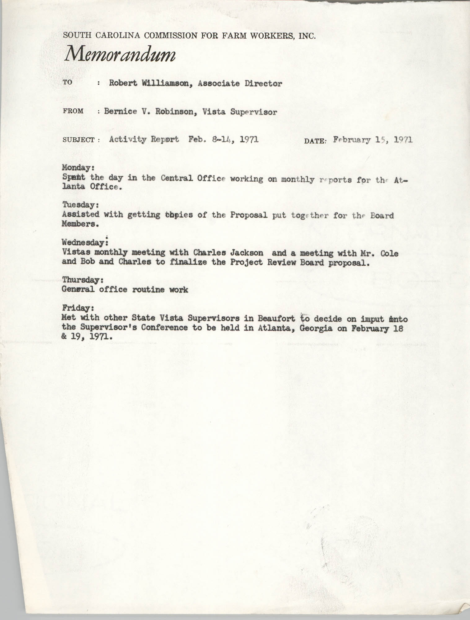 Memorandum from Bernice V. Robinson to Robert Williamson, February 15, 1971
