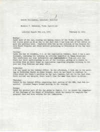Memorandum from Bernice V. Robinson to Robert Williamson, February 8, 1971