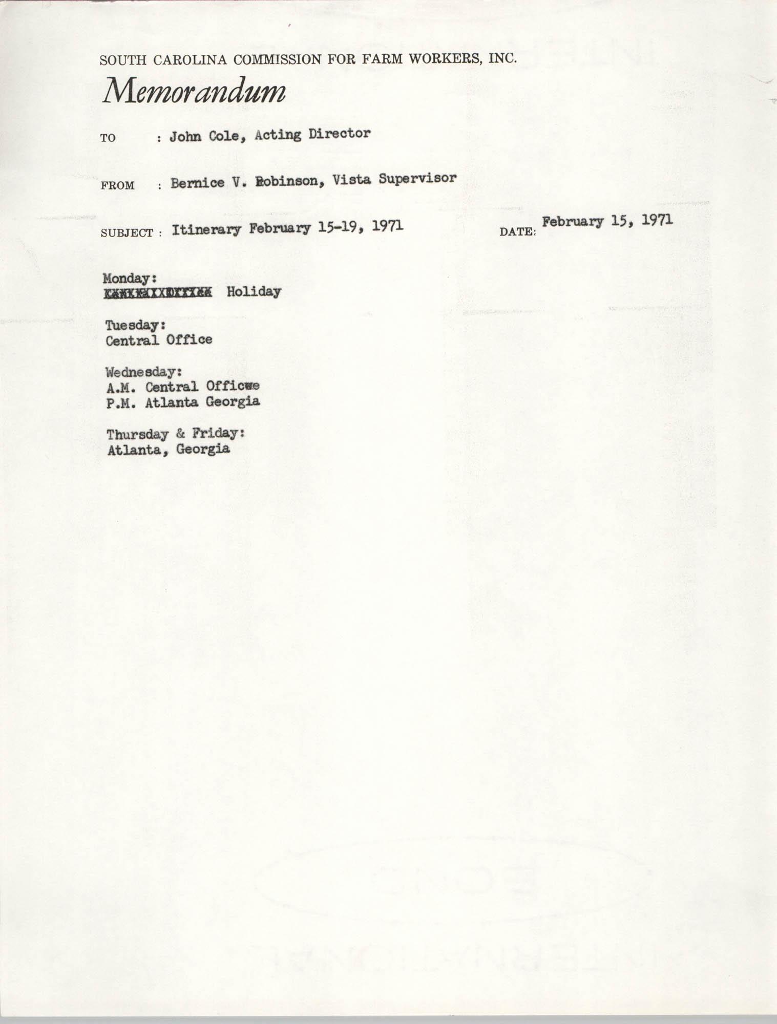 Memorandum from Bernice V. Robinson to John Cole, February 15, 1971