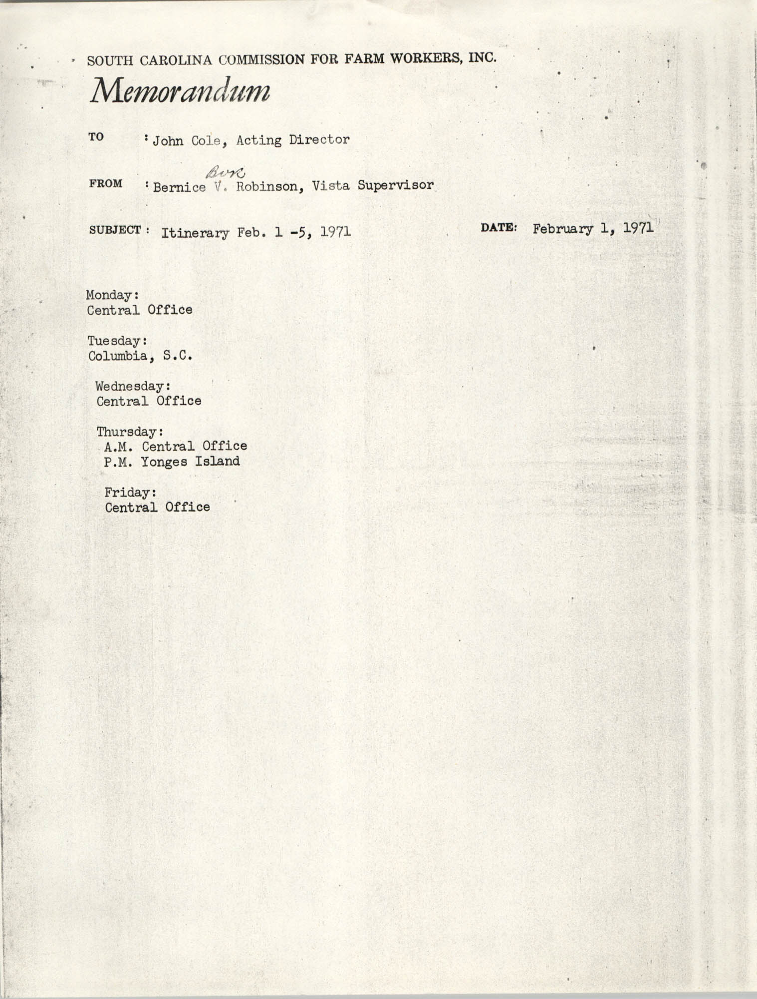 Memorandum from Bernice V. Robinson to John Cole, February 1, 1971